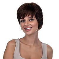 Парик из натуральных волос на сетке - система Connie HH шоколадного цвета