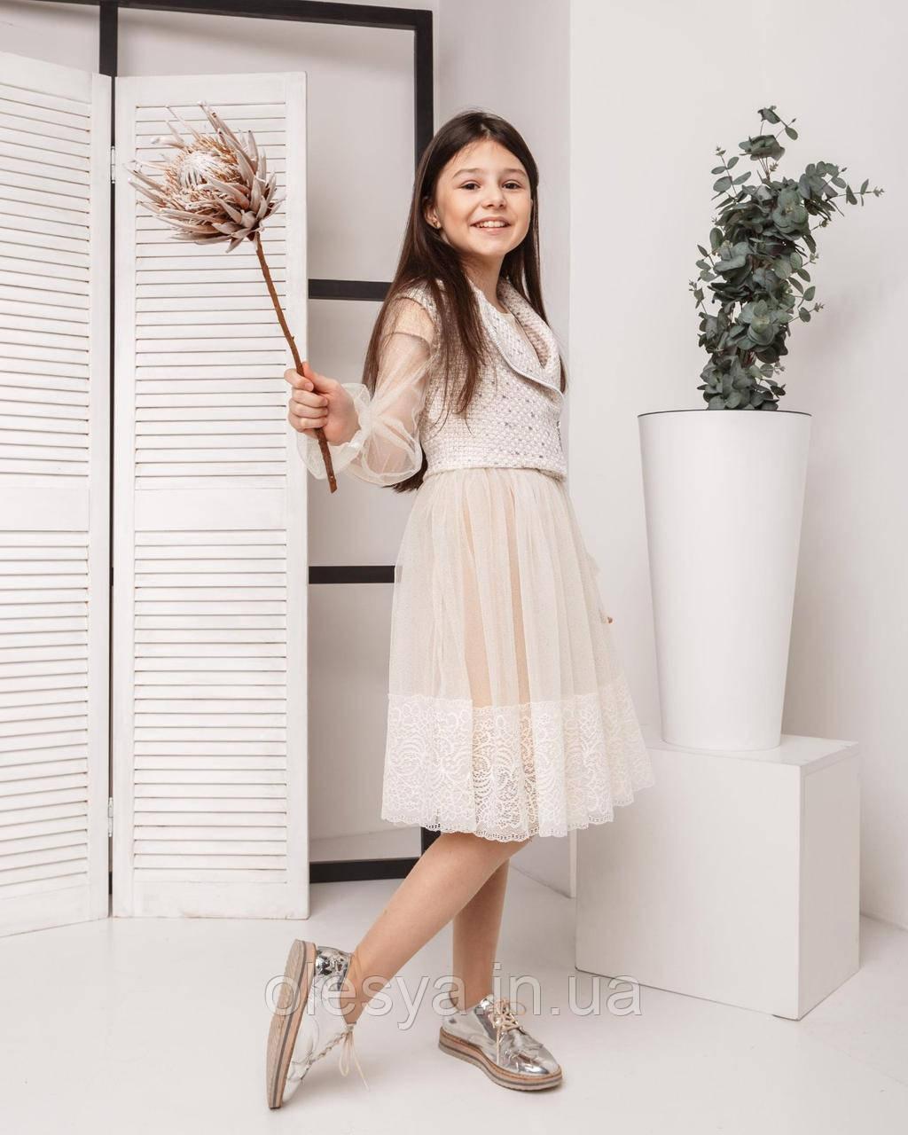 Красивый комплект для девочек - платье , накидка и жилет, TM Madlen Размеры 134 - 158