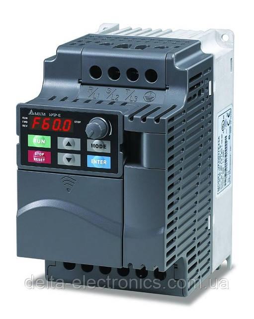 Преобразователь частоты Delta Electronics, 2,2 кВт, 230В,1ф.,векторный, со встроенным ПЛК,VFD022E21A