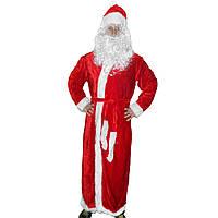 Взрослый костюм Деда Мороза красный велюр
