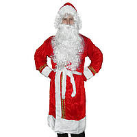 Взрослый костюм Деда Мороза красный с вышивкой