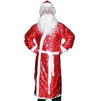 Взрослый костюм Деда Мороза с рисунком красный