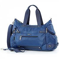 Сумка cпортивная мужская дорожная багажная синяя на плечо тканевая большая с тремя карманами Dolly 939, фото 1