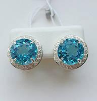 Серебряные серьги c голубым топазом Светик, фото 1