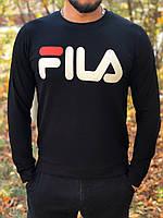 Мужской черный свитшот кофта с принтом Fila