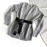 Кардиган вязанный серый с черным поясом