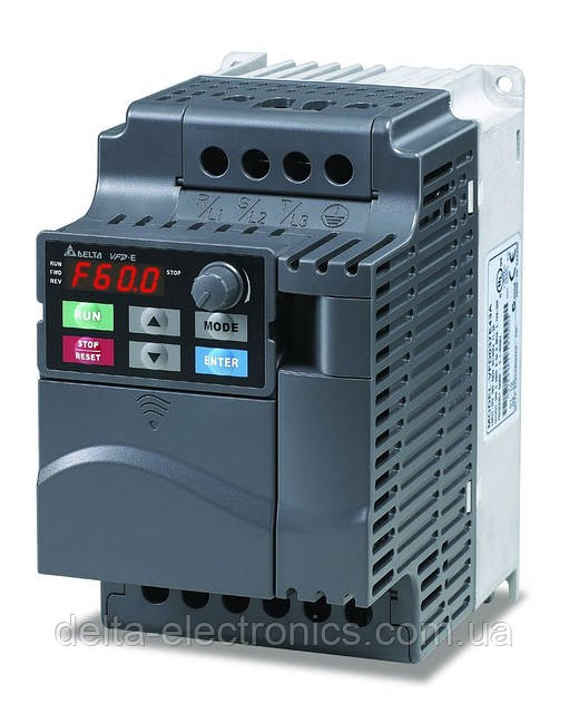 Преобразователь частоты Delta Electronics, 2,2 кВт, 460В,3ф.,векторный, со встроенным ПЛК,VFD022E43A