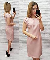 Приталенное женское платье, арт 716/1,ткань хлопок, цвет розовая пудра / пудрового цвета