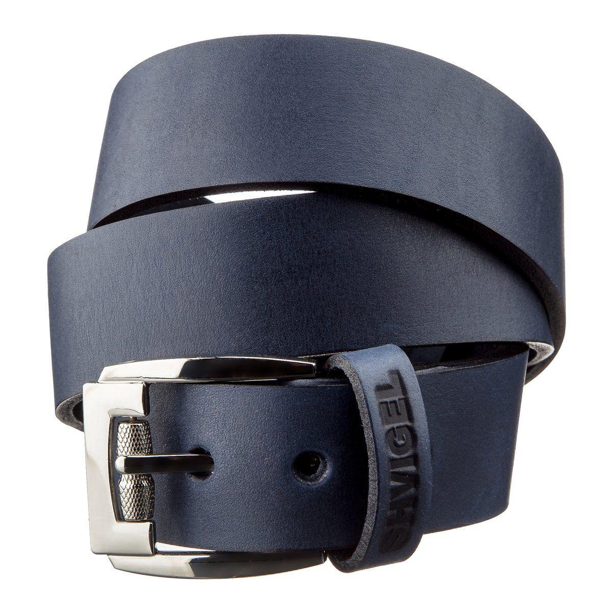 Классический мужской ремень SHVIGEL 11254 кожаный Синий, Синий