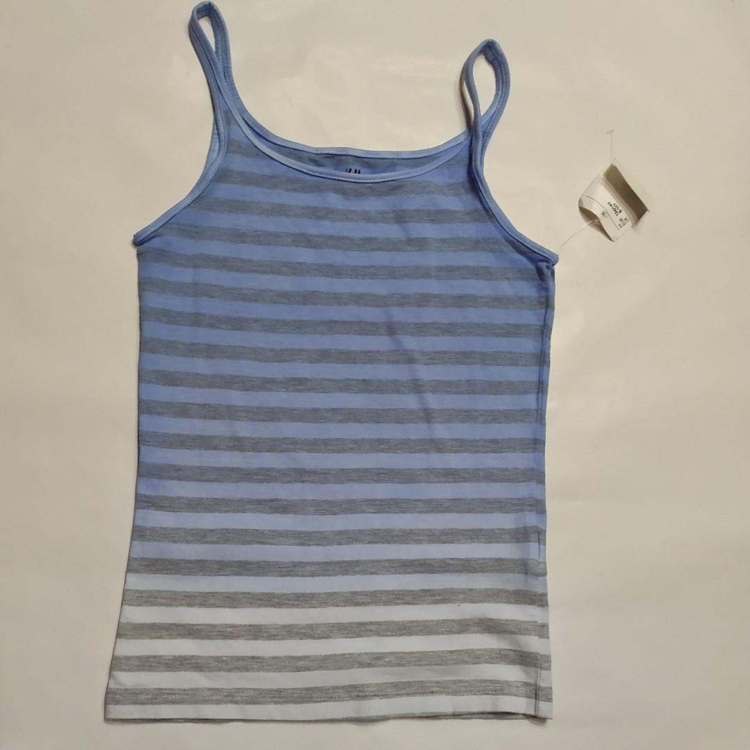 Майка голубая в полоску H&M  р.134/140см (8-10лет)
