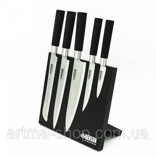 Набор ножей на магнитной подставке 5 шт Benson Нержавеющая сталь (BN-408)