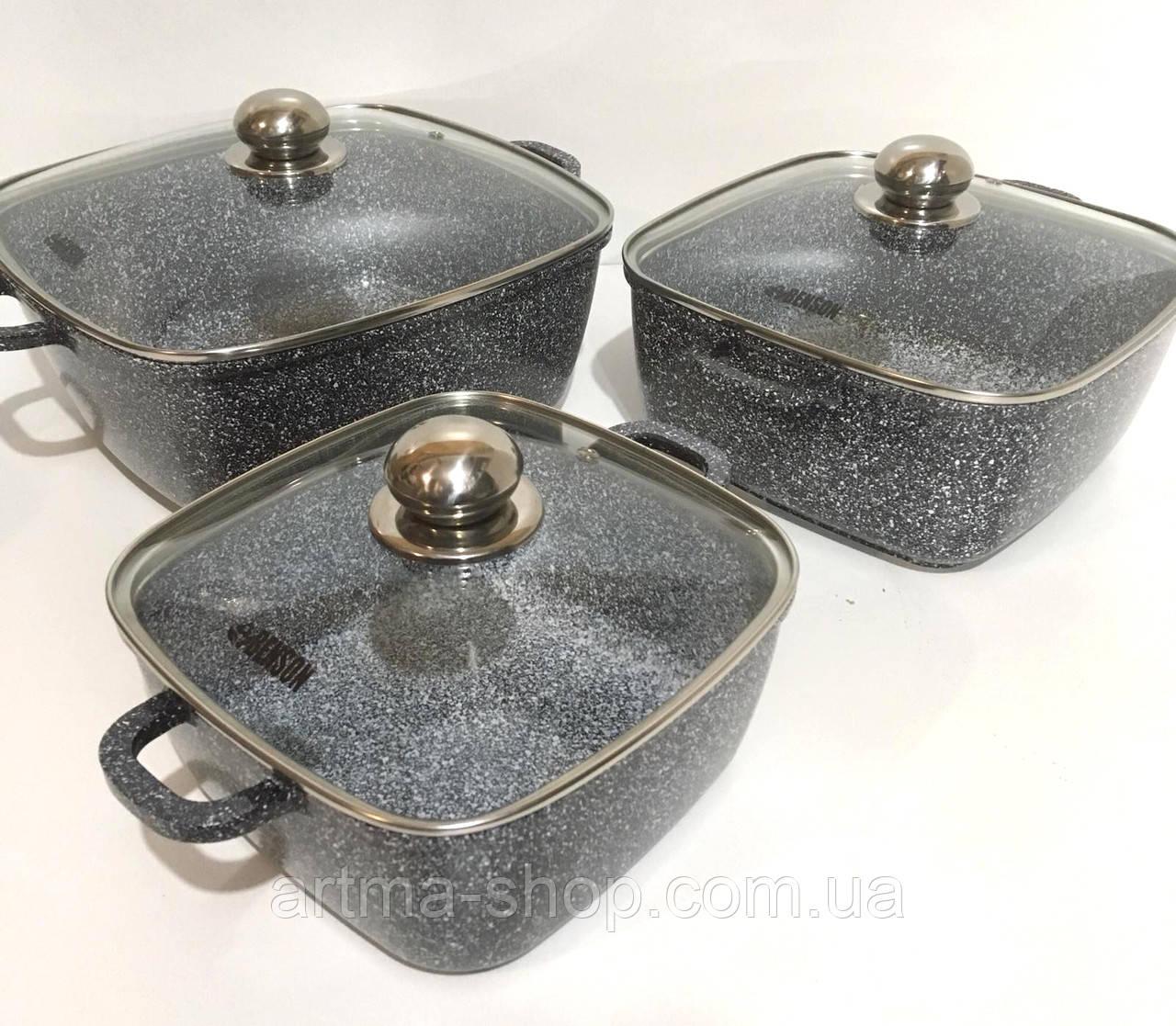 Набор посуды с мраморным покрытие, прямоугольной формы Benson BN-331 Стеклянные крышки, 6 предметов