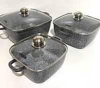Набор посуды с мраморным покрытие, прямоугольной формы Benson BN-331 Стеклянные крышки, 6 предметов, фото 1