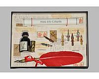 Набор письменный для каллиграфии La Kaligrafica 530 (8 перьев) красный