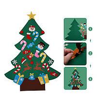 Игровое дидактическое настенное панно для детей от 3-10 лет с аппликациями и заданиями Новогодняя ёлка 125 см