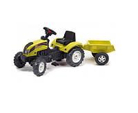 Детский Педальный Трактор с прицепом Ranch Trac Falk, со звуковыми эффектами, клаксоном, 133х54х42 см, ЖЕЛТЫЙ
