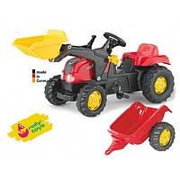 Детский Педальный Трактор с прицепом Rolly Toys, со звуковыми эффектами, ковшом и бесшумными колесами, КРАСНЫЙ