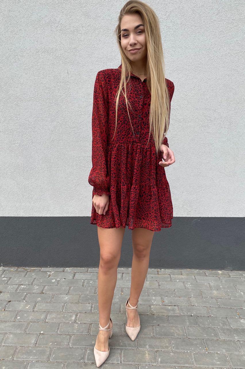 Стильное шифоновое платье – рубашка с юбкой в сборку  Clew - красный цвет, L (есть размеры)