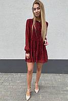 Стильное шифоновое платье – рубашка с юбкой в сборку  Clew - красный цвет, L (есть размеры), фото 1