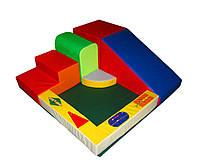Мягкий детский спортивный тренажер-уголок площадка с горкой, кубом и ступенькой сборный для дома Дидактика