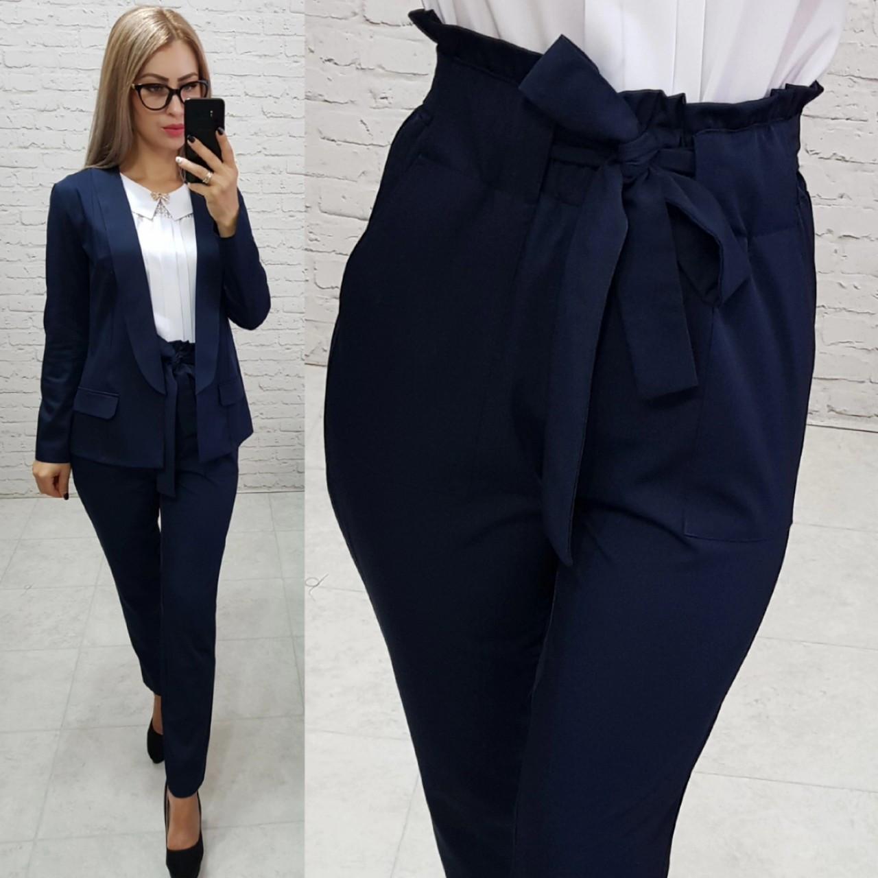 Костюм двойка Khan classic арт. 1 (жакет + брюки) темно синий / темно-синий / темно синего цвета
