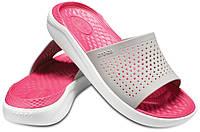 Летние шлёпанцы Crocs LiteRide Slide серо-розовые, фото 1