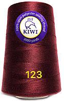 Нить 20/2 армированная Бордовая 123тон повышенной прочности 3000ярдов Kiwi