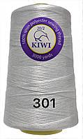 Нить 20/2 армированная Белая 301тон повышенной прочности 3000ярдов Kiwi