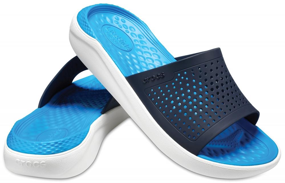 Шлёпанцы Crocs LiteRide Slide синие-белые