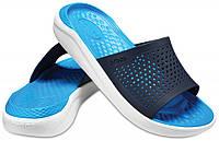 Шлёпанцы Crocs LiteRide Slide синие-белые, фото 1