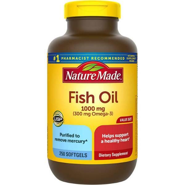 Nature Made Рыбий жир с Омега-3 1000 мг 250 мягких таблеток Fish Oil 1000 mg+300 mg Omega-3 Softgels