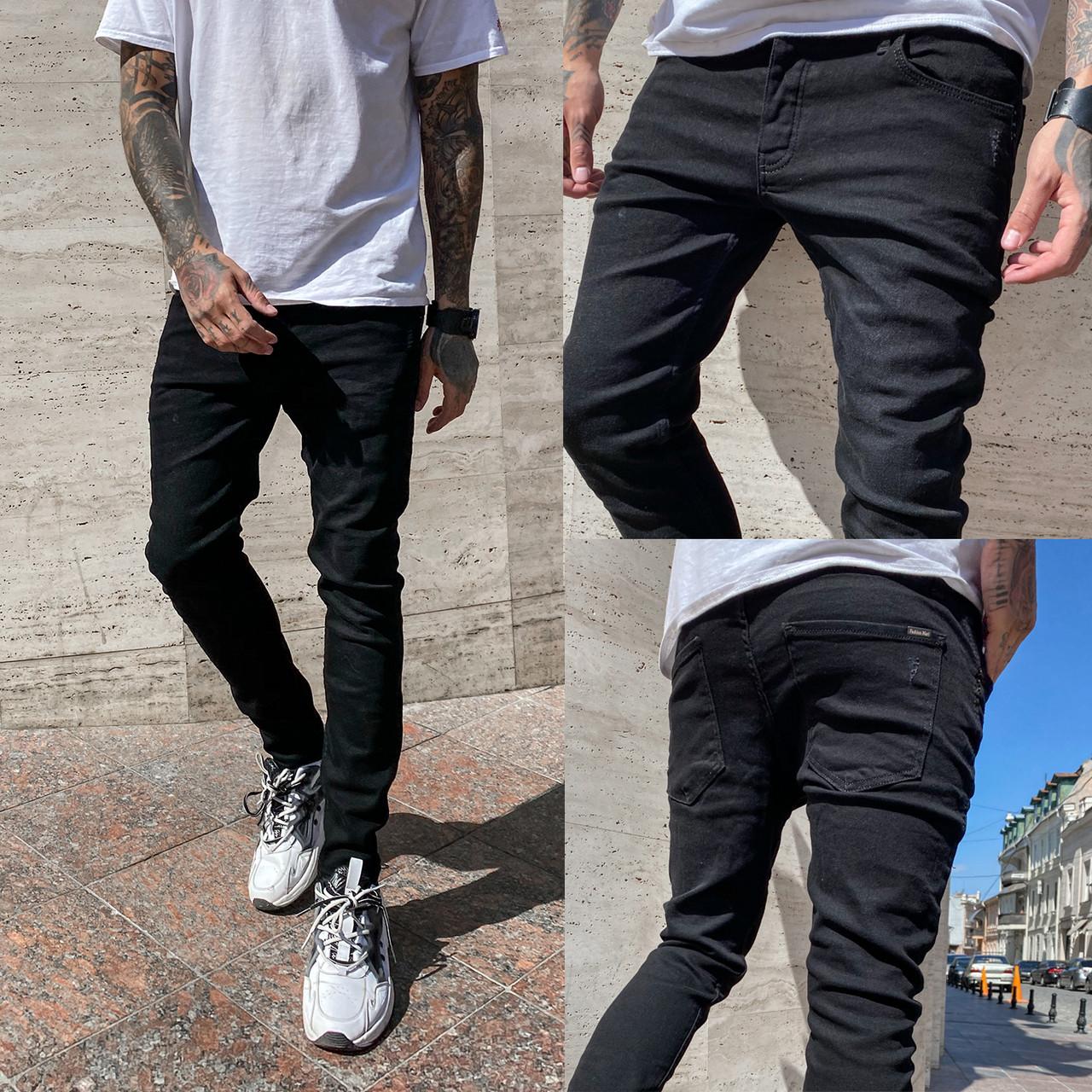 0663 Fashion Mario джинсы мужские черные весенние стрейчевые (29-36, 8 ед.)