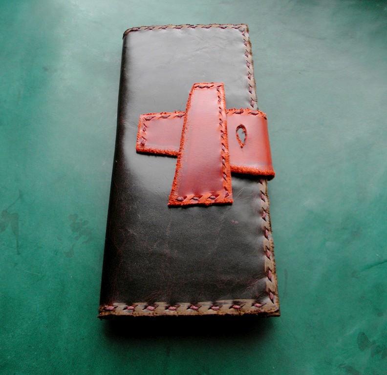 Тревел-кейс кожаный для смартфона карточек банка документов