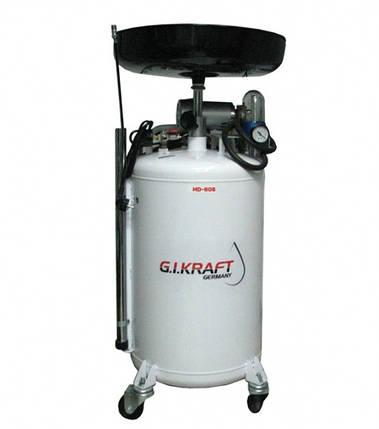 Установка для зливу і відкачування масла з пневмонасосом (80л.) G. I. Kraft HD-806, фото 2