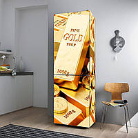 """Виниловая наклейка на холодильник """"Слитки золота""""., фото 1"""
