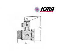 ICMA Предохранительный клапан для водонагревателя с флажком 3/4 №GS09