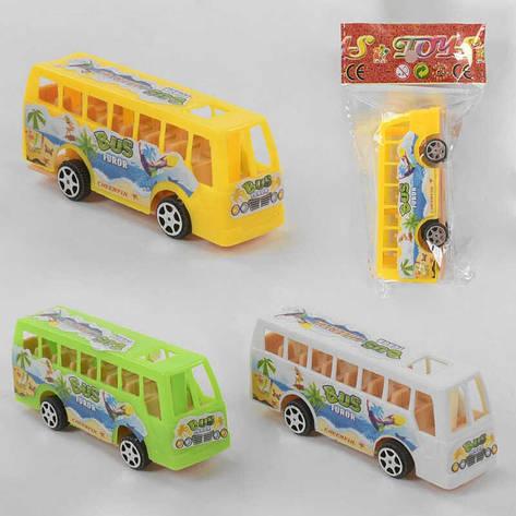 Автобус 399-168 (1800/2) 3 цвета, инерция, 1шт в кульке, фото 2
