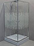Душова кабіна квадратна Y-6850P (90х90) низький піддон, малюнок шовкограф, фото 2