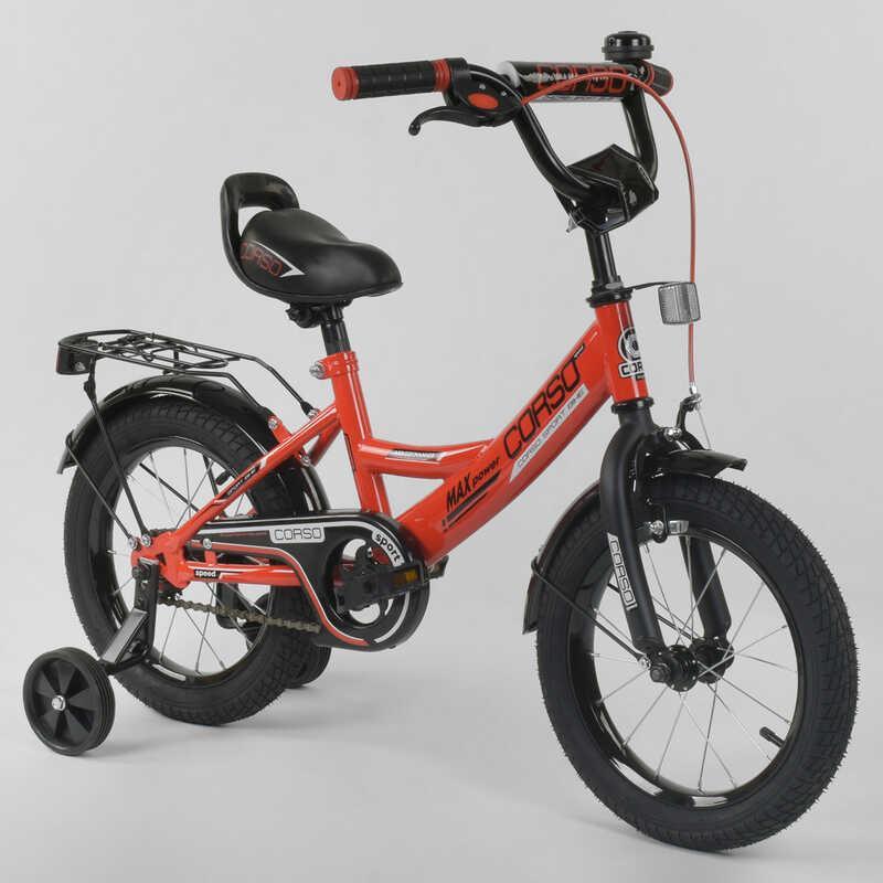 """Велосипед 14"""" дюймов 2-х колёсный  """"CORSO"""" CL-14 D 0106 (1)КРАСНЫЙ, ручной тормоз, звоночек, сидение с ручкой,  доп. колеса,СОБРАННЫЙ НА 75% в коробке"""