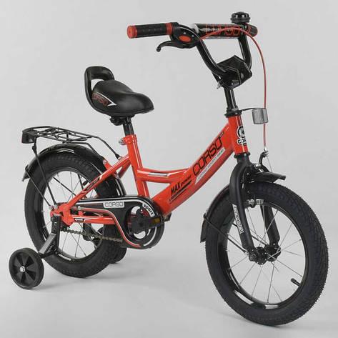 """Велосипед 14"""" дюймов 2-х колёсный  """"CORSO"""" CL-14 D 0106 (1)КРАСНЫЙ, ручной тормоз, звоночек, сидение с ручкой,  доп. колеса,СОБРАННЫЙ НА 75% в коробке, фото 2"""