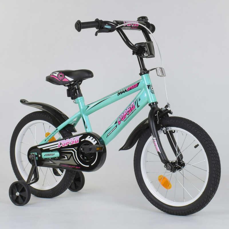 """Велосипед 16"""" дюймов 2-х колёсный """"CORSO"""" ЕХ - 16 N 5171 (1) БИРЮЗОВЫЙ, ручной тормоз, звоночек, доп. колеса, СОБРАННЫЙ НА 75%"""