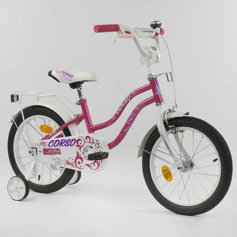"""Велосипед 16"""" дюймов 2-х колёсный """"CORSO"""" Т-61212 (1) РОЗОВЫЙ, ручной тормоз, звоночек, доп. колеса, СОБРАННЫЙ НА 75%"""