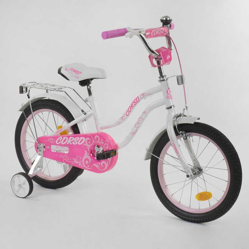 """Велосипед 16""""дюймов 2-х колёсный """"CORSO"""" Т-97795 (1) БЕЛЫЙ, ручной тормоз, звоночек, доп. колеса, СОБРАННЫЙ НА 75%"""