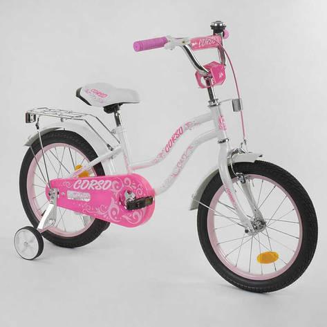 """Велосипед 16""""дюймов 2-х колёсный """"CORSO"""" Т-97795 (1) БЕЛЫЙ, ручной тормоз, звоночек, доп. колеса, СОБРАННЫЙ НА 75%, фото 2"""