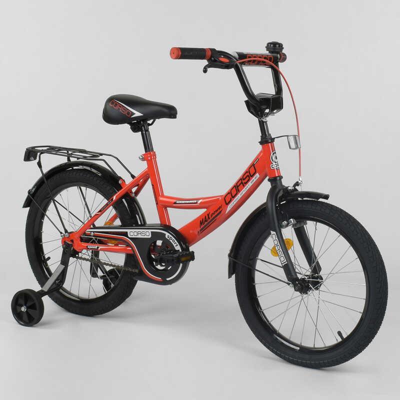 """Велосипед 18"""" дюймов 2-х колёсный  """"CORSO"""" CL-18 R 6030 (1) КРАСНЫЙ, ручной тормоз, звоночек, доп. колеса,СОБРАННЫЙ НА 75% в коробке"""
