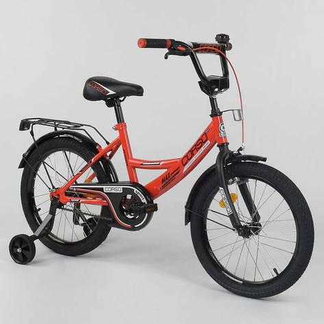 """Велосипед 18"""" дюймов 2-х колёсный  """"CORSO"""" CL-18 R 6030 (1) КРАСНЫЙ, ручной тормоз, звоночек, доп. колеса,СОБРАННЫЙ НА 75% в коробке, фото 2"""