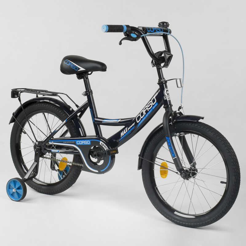 """Велосипед 18"""" дюймов 2-х колёсный  """"CORSO"""" CL-18 R 9060 (1)ЧЕРНЫЙ, ручной тормоз, звоночек, доп. колеса,СОБРАННЫЙ НА 75% в коробке"""