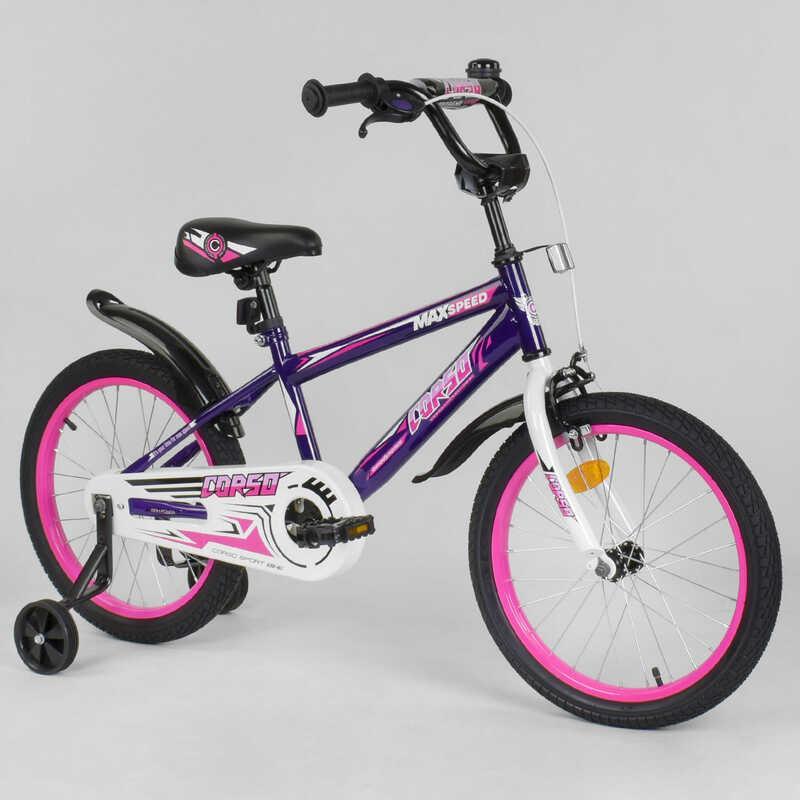 """Велосипед 18"""" дюймов 2-х колёсный  """"CORSO"""" EX-18 N 2203 (1) ФИОЛЕТОВЫЙ, ручной тормоз, звоночек, доп. колеса, СОБРАННЫЙ НА 75%"""