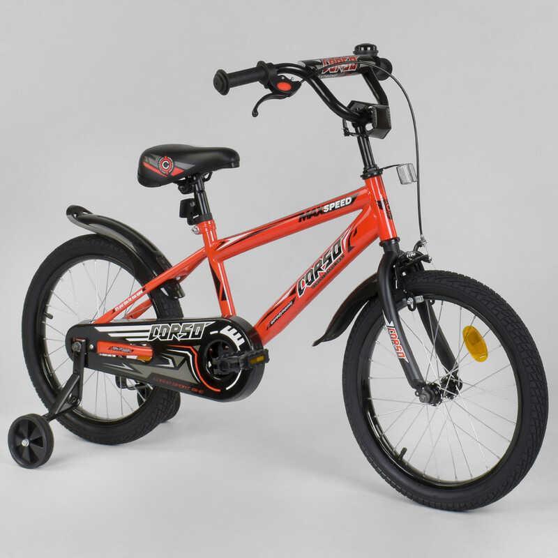 """Велосипед 18"""" дюймов 2-х колёсный  """"CORSO"""" EX-18 N 8872 (1) ОРАНЖЕВЫЙ, ручной тормоз, звоночек, доп. колеса, СОБРАННЫЙ НА 75%"""