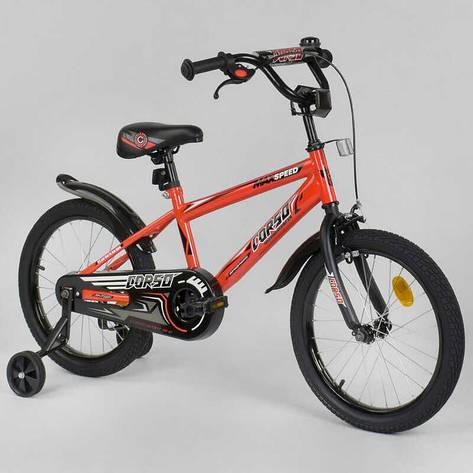 """Велосипед 18"""" дюймов 2-х колёсный  """"CORSO"""" EX-18 N 8872 (1) ОРАНЖЕВЫЙ, ручной тормоз, звоночек, доп. колеса, СОБРАННЫЙ НА 75%, фото 2"""